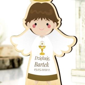 Podziękowanie dla gości komunijnych - drewniany aniołek z nadrukiem