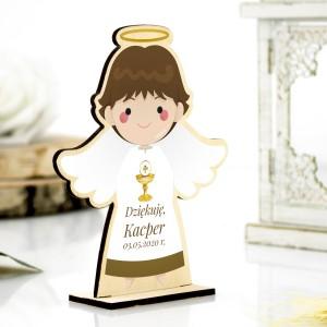 Drewniany aniołek na podziękowanie dla gości na komunię z nadrukiem kolorowym