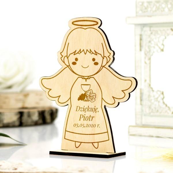 Grawerowany aniołek z podziękowaniem dla gości komunijnych