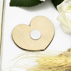 magnes drewniany w kształcie serca z drewna brzozowego