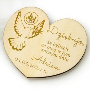 serce drewniane magnes z grawerem dla gości komunijnych w ramach podziękowań