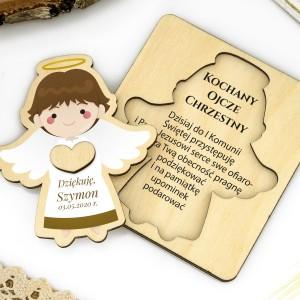 Drewniane podziękowanie dla chrzestnego - aniołek z nadrukiem życzeń