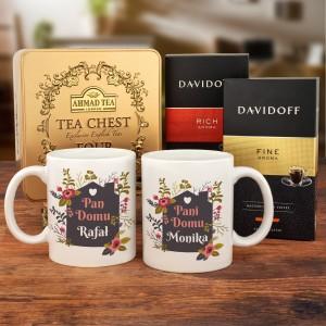Kubki z imieniem, zestaw kaw Davidoff i herbat