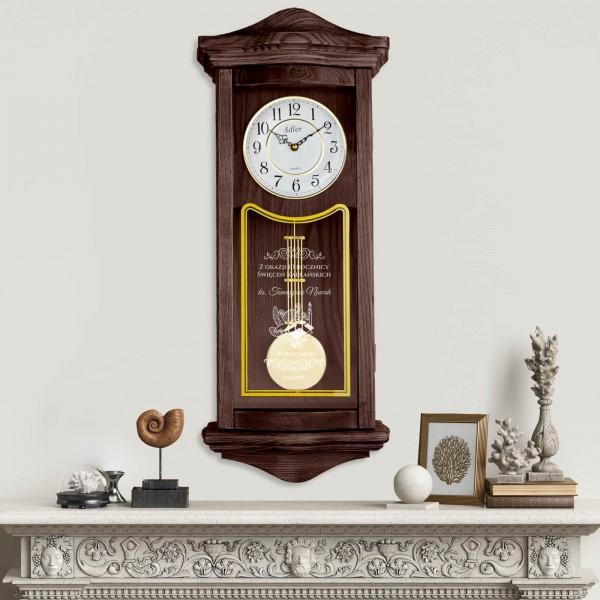 zegar ścienny drewniany z grawerem