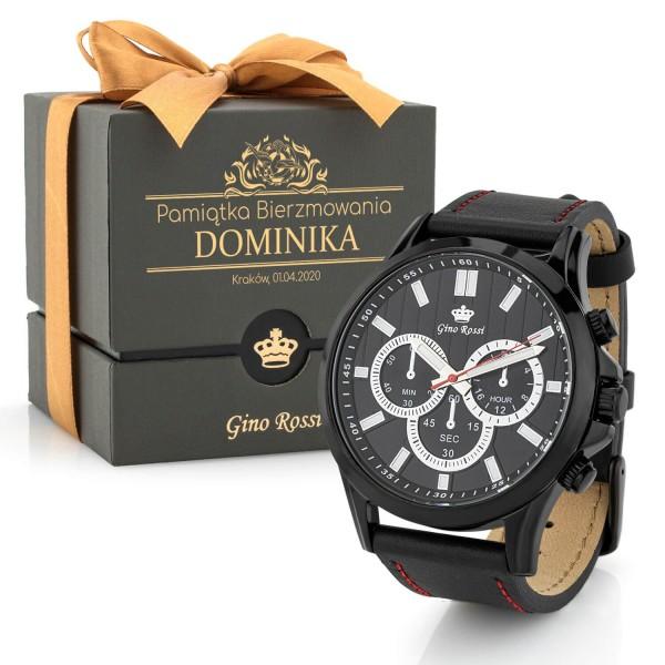 czarny męski zegarek z grawerem