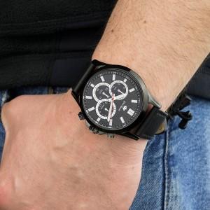 męski skórzany zegarek