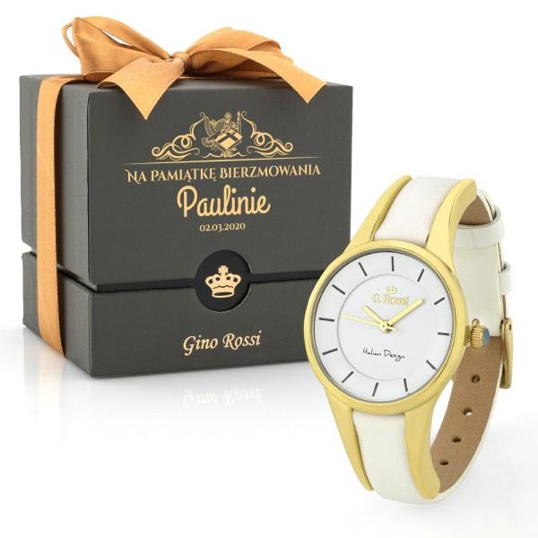 Zegarek biały Gino Rossi damski na prezent jako pamiątka bierzmowania