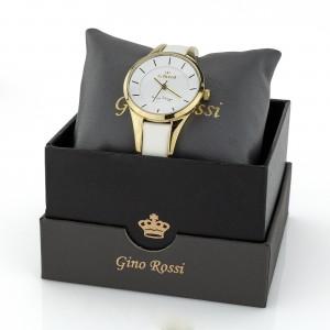 Zegarek Gino Rossi biały ze złoceniami