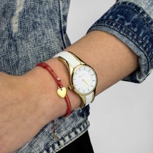 Zegarek damski na rękę Gino Rossi biało złoty na skórzanym pasku