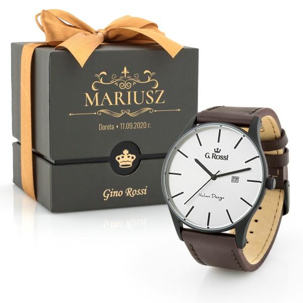 Zegarek męski klasyczny ze srebrną tarczą z nadrukiem dedykacji na pudełku