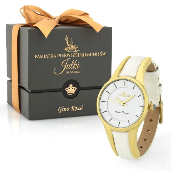Zegarek biały na skórzanym pasku Gino Rossi na pamiątkę komunii