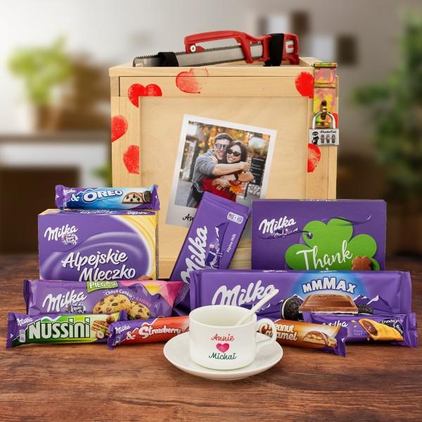 Box niespodzianka ze zdjęciem i słodyczami