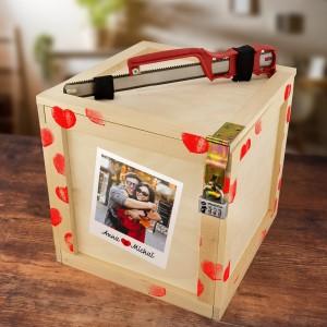 box upominkowy drewniany ze zdjęciem