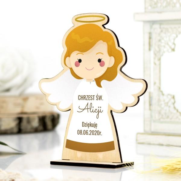 Drewniany aniołek na podziękowanie dla gości na chrzest