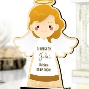 Aniolek drewniany na podziękowanie dla gości na chrzcinach