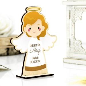 Podziękowanie dla gości na chrzcinach aniołek drewniany