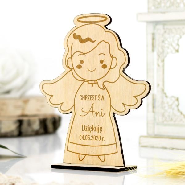 Aniołek drewniany na podziękowanie dla gości na chrzest