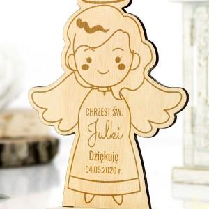 Drewniany aniołek na podziękowanie dla gości