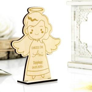 Chrzest św podziękowanie dla gości aniołek z grawerem