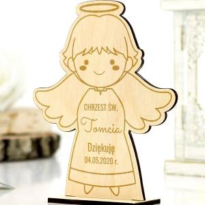 Aniołek grawerowany na podziękowanie dla gości na chrzest