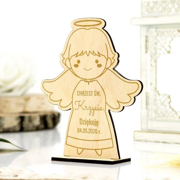 Chrzciny podziękowanie dla gości aniołek drewniany