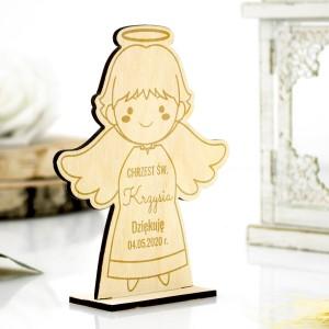 Aniołek drewniany z grawerem podziękowania dla gości na chrzest