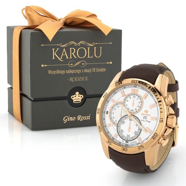 Zegarek na rękę Gino Rossi męski brązowy z dużą kopertą i pudełkiem z nadrukiem na urodziny