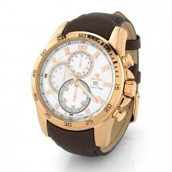 Zegarek męski ze złotą kopertą, pasek skórzany szeroki