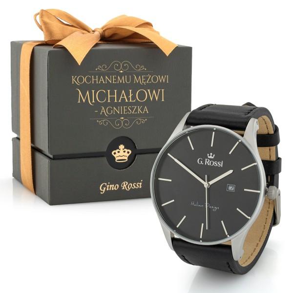 Zegarek męski czarny Gino Rossi w pudełku z dedykacją dla męża