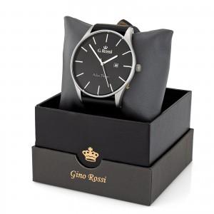 Czarny elegancki zegarek na skórzanym pasku dla mężczyzny