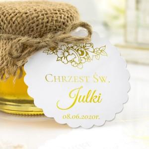 podziękowanie dla gości na chrzciny miód mały z karteczką