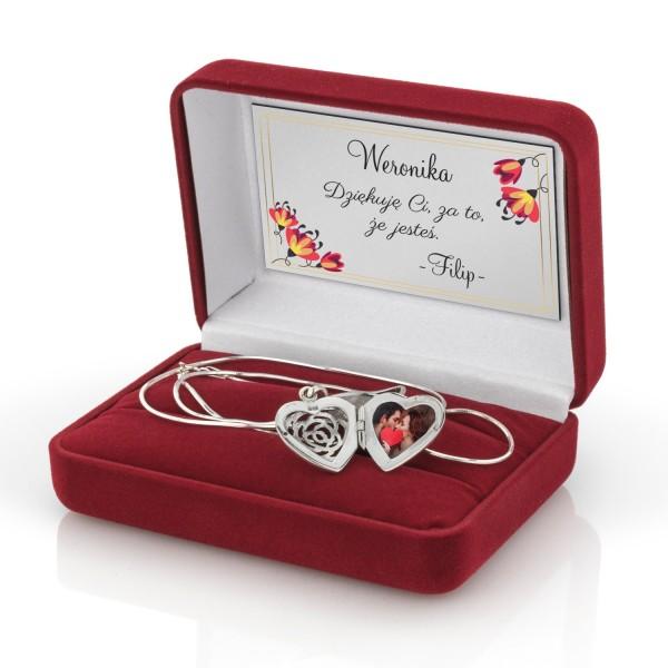 Sekretnik róża srebrna, grawer i dedykacja wewnątrz pudełka