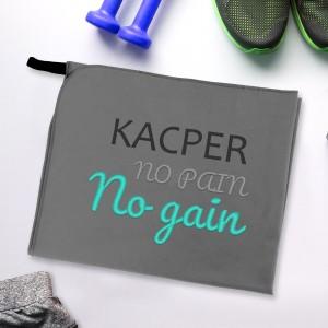 Treningowy ręcznik z napisem no pain no gain + haft imienia