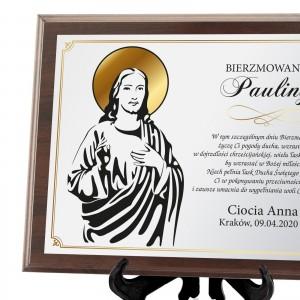 Certyfikat z kolorowym nadrukiem na drewnie na prezent na bierzmowanie