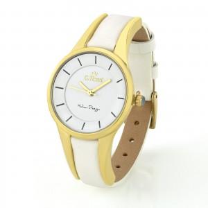 Biały zegarek damski G. Rossi na skórzanym pasku