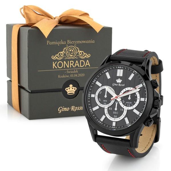 męski zegarek na pasku z grawerem w etui