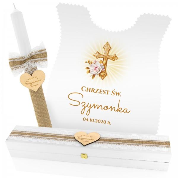 Zestaw do chrztu: szatka, szkatułka szatka z nadrukiem