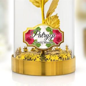 złota róża pod kloszem na prezent dla niej