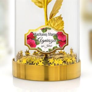 złota róża pod kloszem na prezent dla mamy z nadrukiem dedykacji