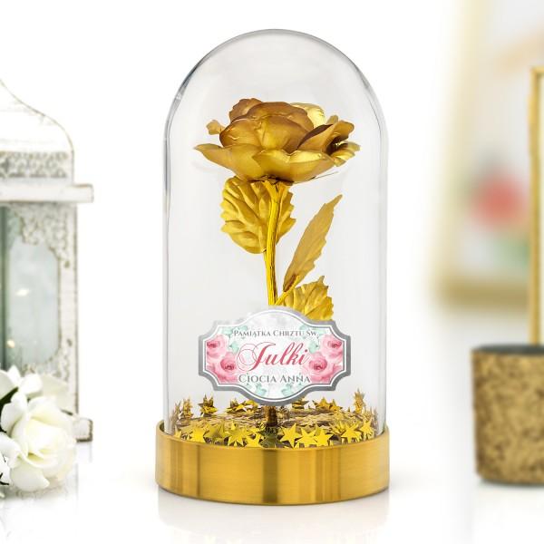 złota róża z nadrukiem na chrzest