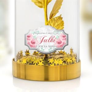 złota róża z nadrukiem dedykacji na chrzest