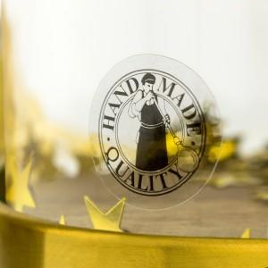 złota róża z nadrukiem na chrzest ze złotym konfetti