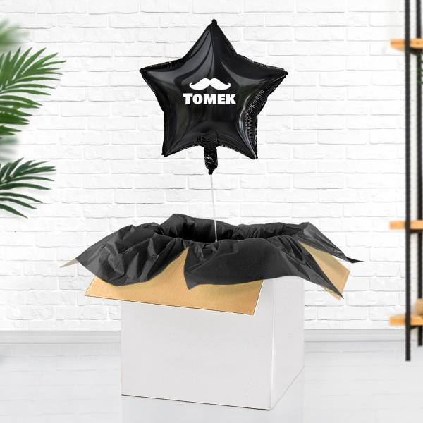 Balon niespodzianka z helem, czarny z nadrukiem dowolnego imienia