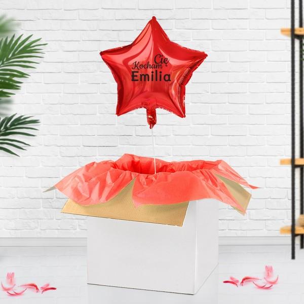 Czerwony balon z helem gwiazda z nadrukiem imienia