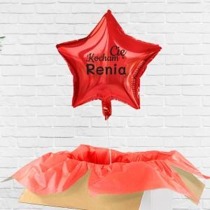 balon poczta balonowa czerwony z nadrukiem imienia i słów kocham Cię