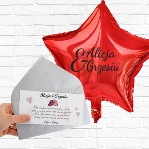 Balon na prezent i liścik z życzeniami