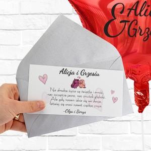 Balon na prezent i liścik z życzeniami na prezent niespodziankę - poczta balonowa