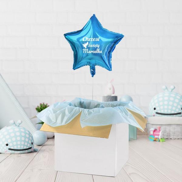 Balon gwiazdka niebieski z helem na prezent na chrzest
