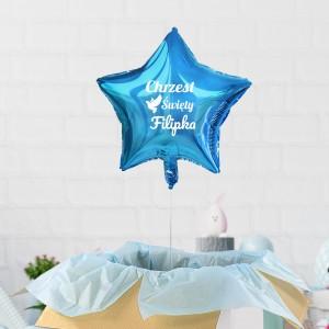 Balon niebieski gwiazdka z helem niespodzianka dla dziecka