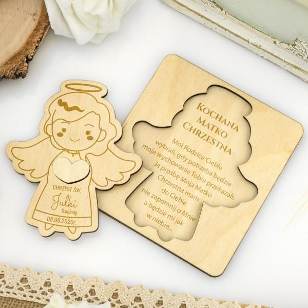 Drewniany aniołek na podziękowanie dla matki chrzestnej